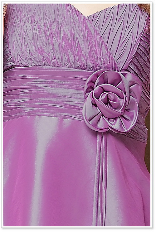画像5: 結婚式♪パーティー♪二次会に♪胸元皺加工☆ドレスワンピース★カラー2色/レッド・パープル