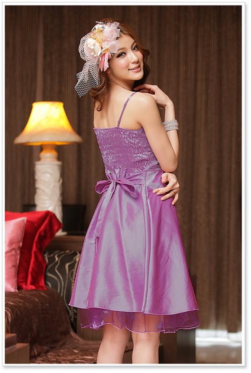 画像4: 結婚式♪パーティー♪二次会に♪胸元皺加工☆ドレスワンピース★カラー2色/レッド・パープル