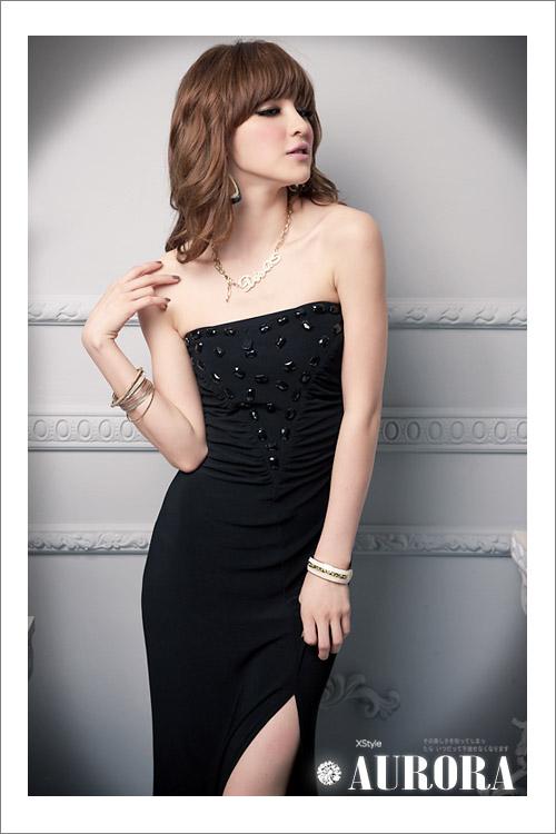 画像2: 大きいいサイズあり!!パーティー♪二次会に♪胸元ビーズ付き★肩だしロング丈ドレス☆カラー2色/ブラック・パープル