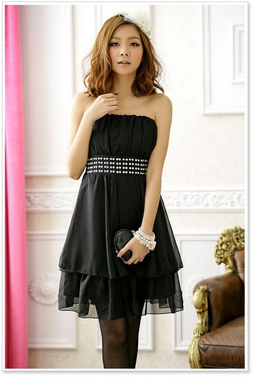 画像1: 結婚式♪パーティーに♪シフォン★ウエストビーズ付き★ドレスワンピース♪カラー全3色/ピンク・レッド・ブラック