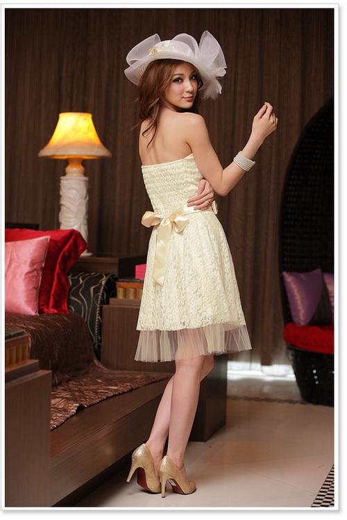 画像2: 結婚式♪パーティーに♪総花柄レース★ドレスワンピース♪カラー全3色/ライトベージュ・レッド・ホワイト