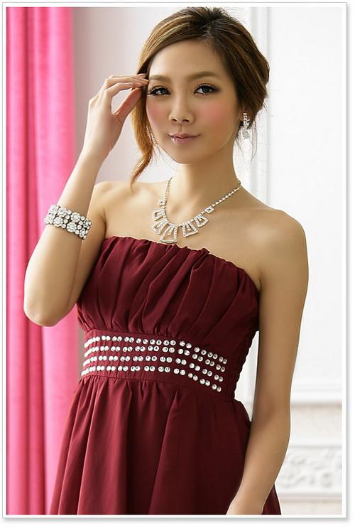 画像5: 結婚式♪パーティーに♪シフォン★ウエストビーズ付き★ドレスワンピース♪カラー全3色/ピンク・レッド・ブラック
