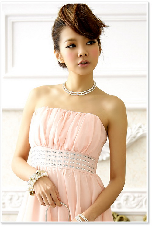 画像4: 結婚式♪パーティーに♪シフォン★ウエストビーズ付き★ドレスワンピース♪カラー全3色/ピンク・レッド・ブラック