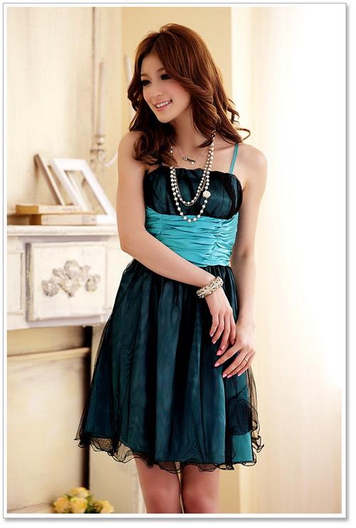 画像5: 大きいサイズあり!!パーティー♪結婚式に♪ダブルチュール★ドレスワンピース♪カラー全3色/パープル・グリーン・ブルー