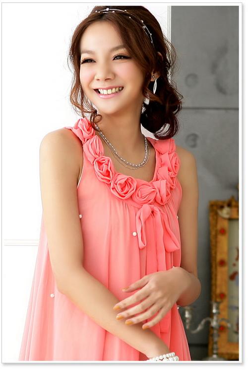 画像2: パーティー♪ お呼ばれに♪ビーズ付き★バラUネック☆シフォンワンピース♪カラー全3色/サンゴピンク・ピンク・ブルー