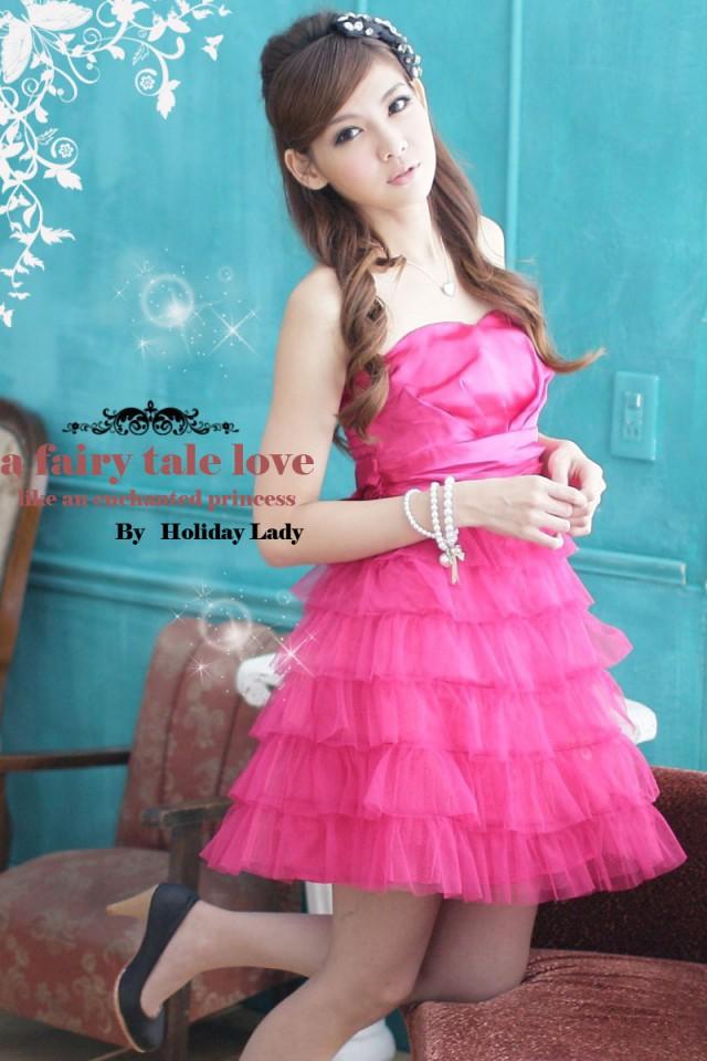 画像1: 大きいサイズあり!!結婚式♪パーティーに♪六段フレア★姫様★ドレスワンピース♪カラー全4色/ピンク・ホワイト・ライトベージュ・ライトピンク