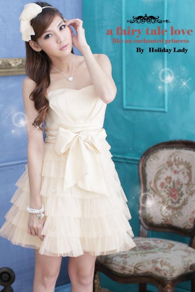 画像3: 大きいサイズあり!!結婚式♪パーティーに♪六段フレア★姫様★ドレスワンピース♪カラー全4色/ピンク・ホワイト・ライトベージュ・ライトピンク