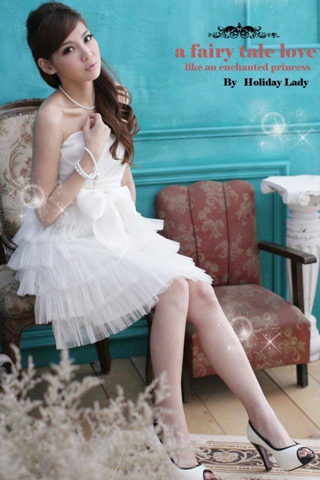画像4: 大きいサイズあり!!結婚式♪パーティーに♪六段フレア★姫様★ドレスワンピース♪カラー全4色/ピンク・ホワイト・ライトベージュ・ライトピンク