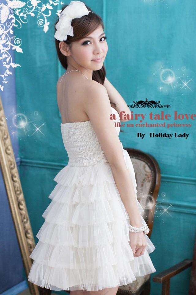 画像5: 大きいサイズあり!!結婚式♪パーティーに♪六段フレア★姫様★ドレスワンピース♪カラー全4色/ピンク・ホワイト・ライトベージュ・ライトピンク