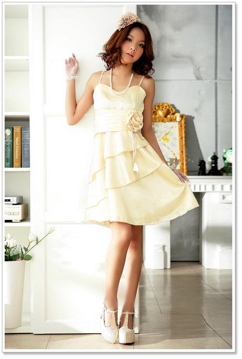 画像5: 大きいサイズあり!!上品スタイル♪Aライン★ウエストバラドレスワンピース♪カラー全3色/パープル・ゴールド・シャンパン