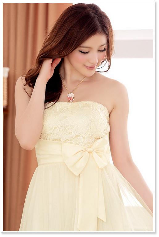 画像5: 大きいサイズあり!!胸元花柄レースが可愛い♪リボンチュールドレスワンピース♪カラー全3色/パープル・オレンジ・シャンパン