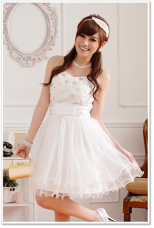 画像1: 大きいサイズあり!!結婚式♪パーティーに♪胸元バラ☆スパンコールドレスワンピース♪カラー全3色/ピンク・ホワイト・レッド