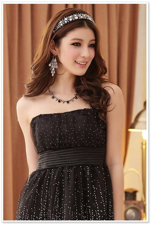 画像3: 大きいサイズあり!!結婚式♪パーティーに♪星柄ドレスワンピース♪カラー全3色/ブラック・シャンパン・ピンク