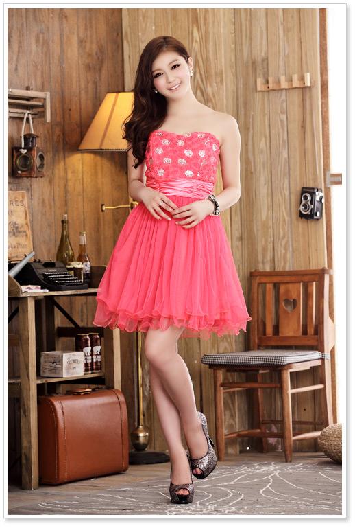 画像4: 大きいサイズあり!!結婚式♪パーティーに♪胸元バラ☆スパンコールドレスワンピース♪カラー全3色/ピンク・ホワイト・レッド