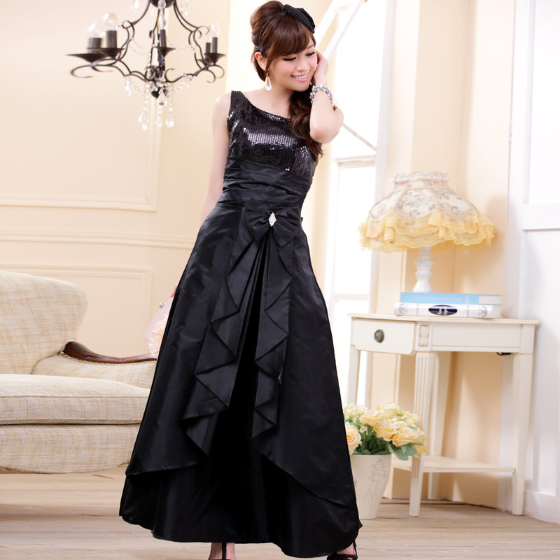 画像1: 大きい良サイズあり!!スパンコール☆ロングドレス♪カラー全3色/ブラック・パープル・レッド