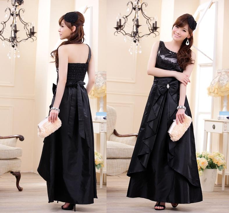 画像2: 大きい良サイズあり!!スパンコール☆ロングドレス♪カラー全3色/ブラック・パープル・レッド