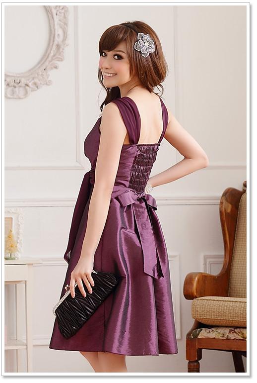 画像2: 大きいサイズあり!!Vネック☆インナー・ブローチ付きドレスワンピース♪カラー全3色/パープル・レッド・グリーン