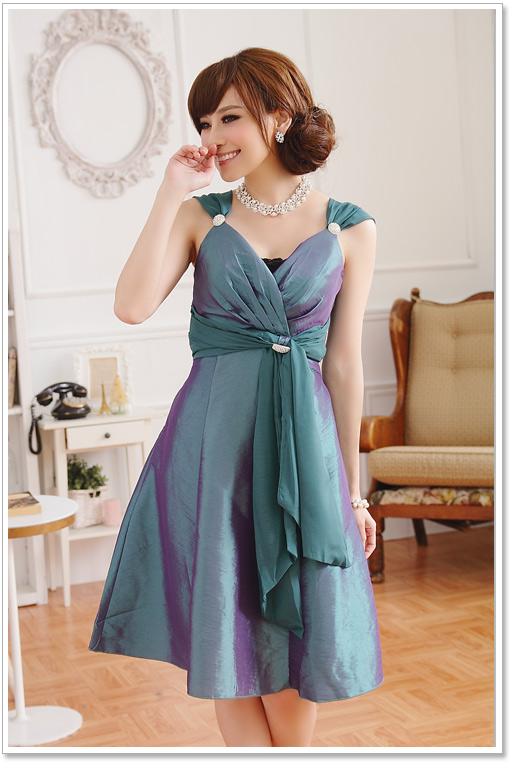 画像4: 大きいサイズあり!!Vネック☆インナー・ブローチ付きドレスワンピース♪カラー全3色/パープル・レッド・グリーン