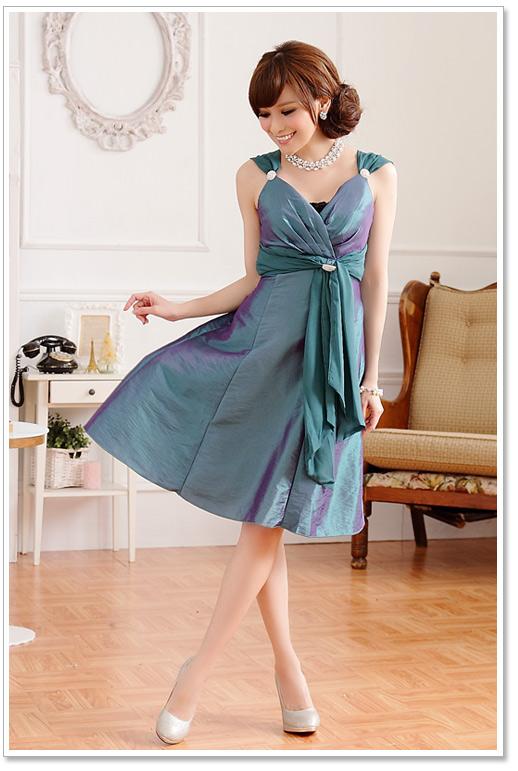 画像3: 大きいサイズあり!!Vネック☆インナー・ブローチ付きドレスワンピース♪カラー全3色/パープル・レッド・グリーン
