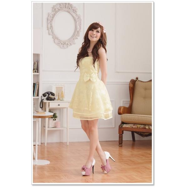 画像1: 大きいサイズあり!!パーティー♪結婚式に♪姫様☆上品花柄レース☆ドレスワンピース★カラー2色/ピンク・シャンパン
