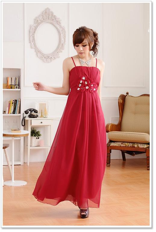 画像4: 大きいサイズあり!!披露宴♪パーティーに♪欧米風レッドカーペット☆シフォンロングドレス♪カラー全3色/シャンパン・グリー・レッド