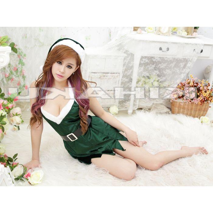 画像3: セクシー!ベルト付☆グリーンサンタ☆ミニドレス♪3点セット♪