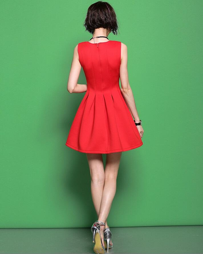 画像3: XS〜4Lまで!!パーティー♪結婚式に♪シンプル★Aラインドレスワンピース★カラー2色/レッド・ブラック