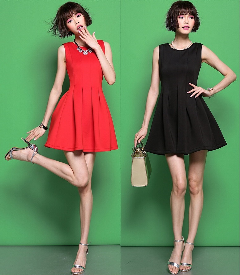 画像1: XS〜4Lまで!!パーティー♪結婚式に♪シンプル★Aラインドレスワンピース★カラー2色/レッド・ブラック