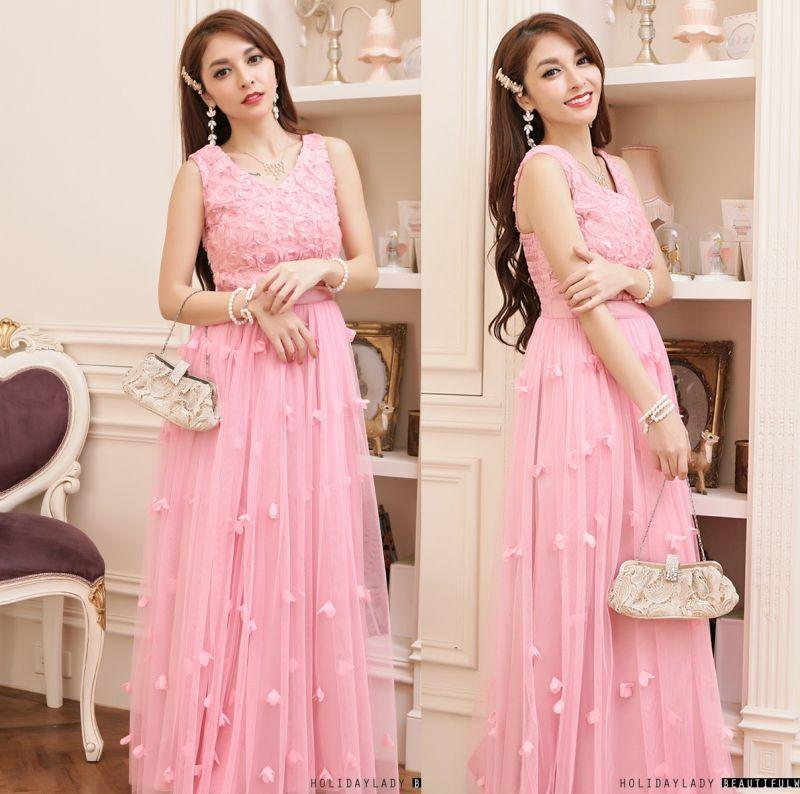 画像4: 大きいサイズあり!パーティー♪披露宴に♪可愛いチュール切替☆花びらロングドレス♪カラー全4色/グレー・レッド・ピンク・ブルー