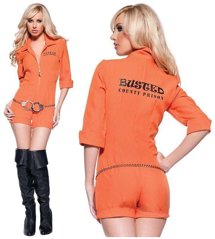 画像1: リアルなオレンジカラー☆手錠付!囚人風オールインワン♪