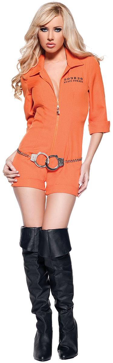 画像2: リアルなオレンジカラー☆手錠付!囚人風オールインワン♪