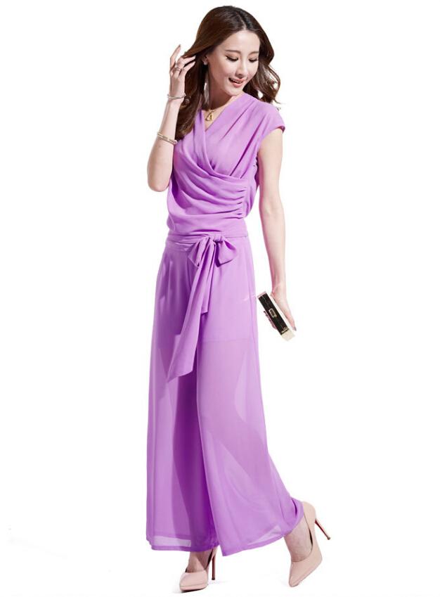 画像5: 大きいサイズあり!パーティー♪普段にも♪シフォン★ベルト付き!ワイドパンツ★ドレス風ツーピース★カラー全5色/ブルー・ブラック・グリーン・ピンク・ネイビー