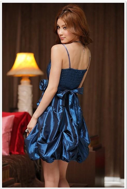 画像2: 大きいサイズあり!!結婚式♪パーティー♪二次会に♪くしゅくしゅバルーン★ドレスワンピース♪カラー全3色/グレー・ブルー・レッド