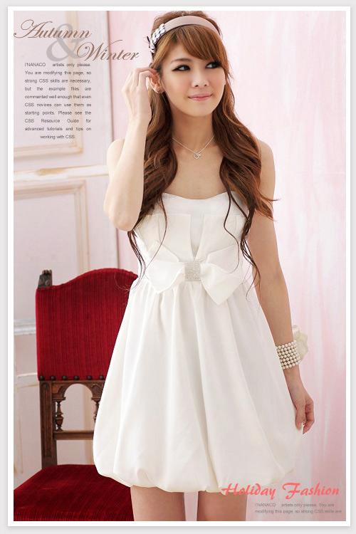 画像3: 大きいいサイズあり!!結婚式♪パーティーに♪ウエストリボン★ちょう結び♪バルーン♪ドレスワンピース☆カラー2色/ミカンピンク・ホワイト