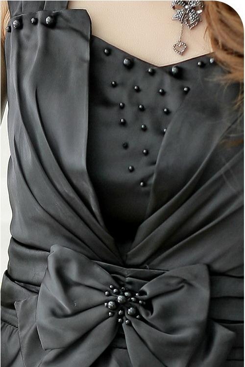 画像3: 大きいサイズあり!!全6サイズ★胸元ビーズ付き★ドレスワンピース♪カラー全3色/ブラック・ピンク・ライトベージュ