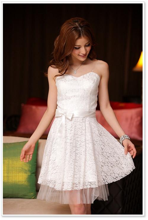 画像5: 結婚式♪パーティーに♪総花柄レース★ドレスワンピース♪カラー全3色/ライトベージュ・レッド・ホワイト