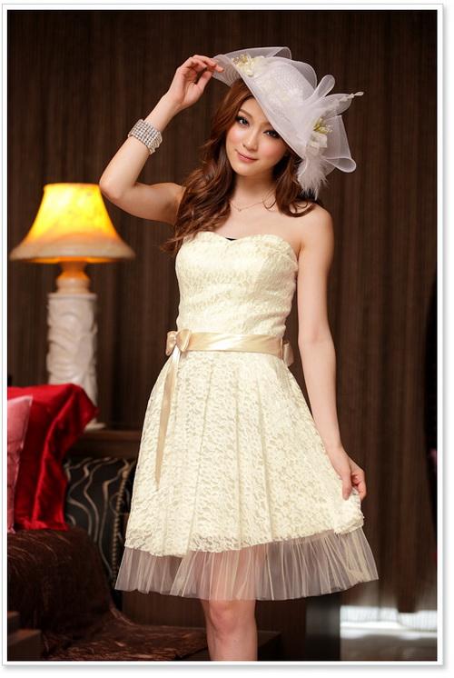 画像1: 結婚式♪パーティーに♪総花柄レース★ドレスワンピース♪カラー全3色/ライトベージュ・レッド・ホワイト