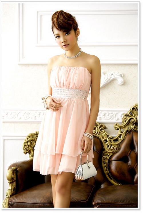 画像3: 結婚式♪パーティーに♪シフォン★ウエストビーズ付き★ドレスワンピース♪カラー全3色/ピンク・レッド・ブラック
