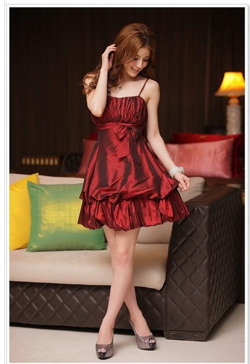 画像5: 大きいサイズあり!!結婚式♪パーティーに♪可愛い姫様バルーン☆ドレスワンピース☆カラー全3色/シャンパン・ピンク・レッド