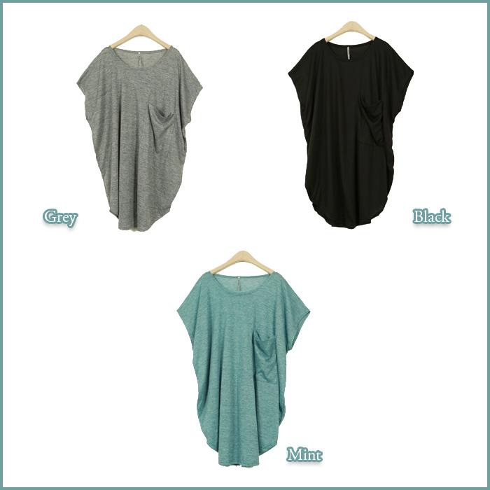 画像2: ドルマンBIGポケットTシャツワンピース★カラー全3色/ブラック・グレー・ミント