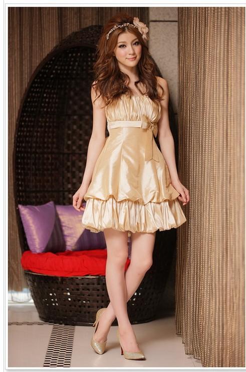 画像1: 大きいサイズあり!!結婚式♪パーティーに♪可愛い姫様バルーン☆ドレスワンピース☆カラー全3色/シャンパン・ピンク・レッド