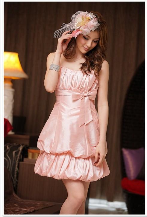 画像3: 大きいサイズあり!!結婚式♪パーティーに♪可愛い姫様バルーン☆ドレスワンピース☆カラー全3色/シャンパン・ピンク・レッド