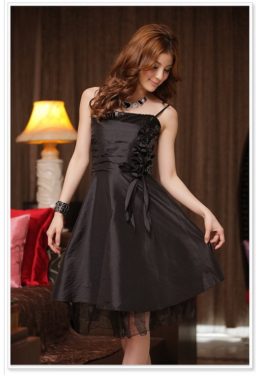 画像1: 大きいサイズあり!!結婚式♪パーティーに♪スパンコール☆ドレスワンピース☆カラー全3色/ブラック・ブルー・パープル