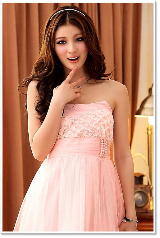 画像2: 大きいサイズあり!!結婚式♪パーティーに♪胸元花びら★ウエストビーズ付き★ドレスワンピース♪カラー全3色/ピンク・シャンパン・ホワイト
