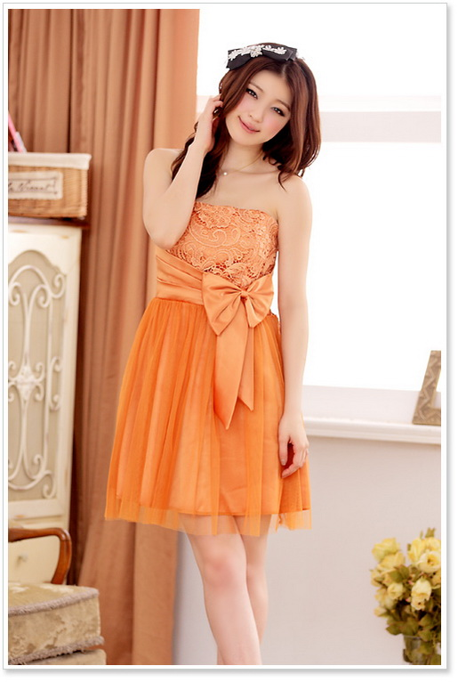 画像3: 大きいサイズあり!!胸元花柄レースが可愛い♪リボンチュールドレスワンピース♪カラー全3色/パープル・オレンジ・シャンパン