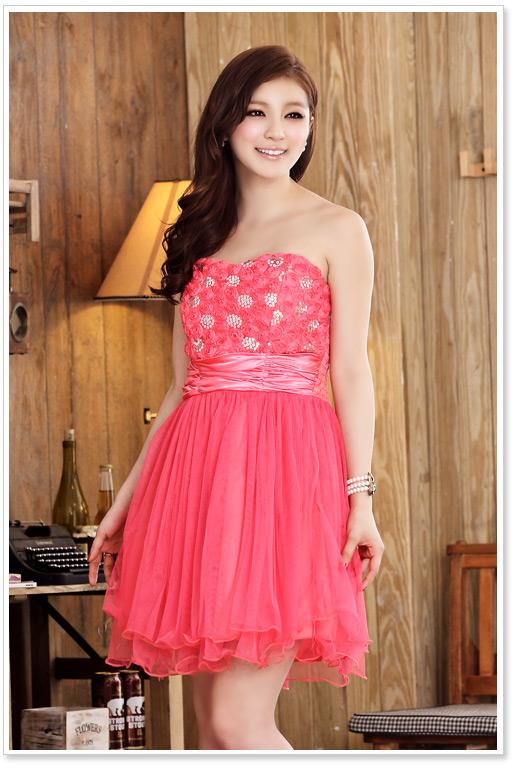 画像5: 大きいサイズあり!!結婚式♪パーティーに♪胸元バラ☆スパンコールドレスワンピース♪カラー全3色/ピンク・ホワイト・レッド