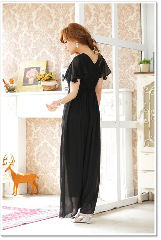 画像5: 大きいサイズあり!!披露宴♪パーティーに♪上品Vネック☆ラインストーンダイヤ ロングドレス♪カラー全3色/ブラック・シャンパン・レッド