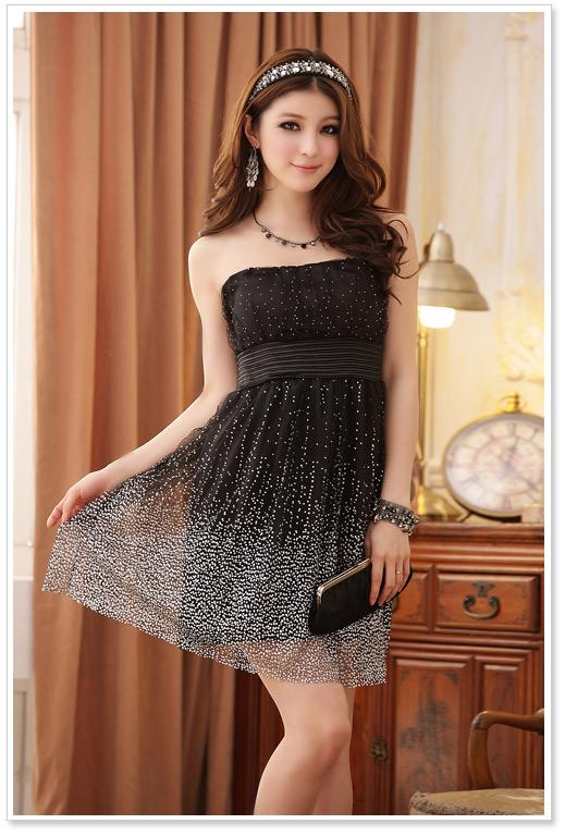 画像1: 大きいサイズあり!!結婚式♪パーティーに♪星柄ドレスワンピース♪カラー全3色/ブラック・シャンパン・ピンク
