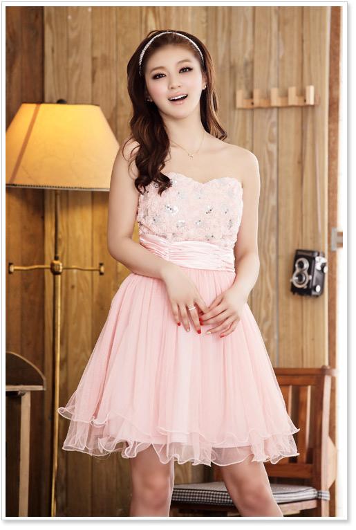 画像2: 大きいサイズあり!!結婚式♪パーティーに♪胸元バラ☆スパンコールドレスワンピース♪カラー全3色/ピンク・ホワイト・レッド