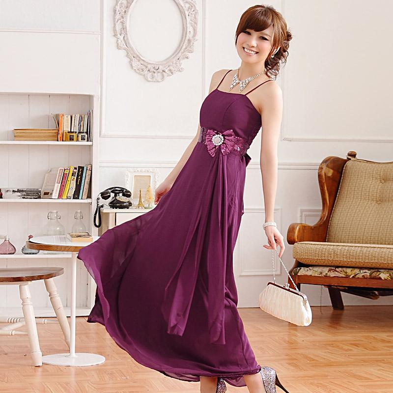 画像2: 大きいサイズあり!!欧米風☆スパンコール♪シフォンロングドレス☆カラー全3色/シャンパン・パープル・ブルー